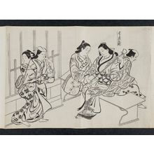 Okumura Masanobu: Kyô-machi in the Yoshiwara (Yoshiwara Kyô-machi), from an untitled series of a visit to the Yoshiwara (known as Series L) - Museum of Fine Arts