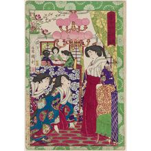 Utagawa Kunitoshi: Court Ladies Making Cotton Bandages - Museum of Fine Arts