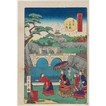 Kobayashi Ikuhide: Double Bridges at the Imperial Palace (Kôkyo nijûbashi no zu), from the series Famous Places in Tokyo (Tôkyô meisho no uchi) - Museum of Fine Arts