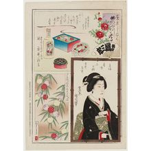 豊原国周: Pride of Tokyo--Famous Things: Products from a Drug Store Owned by Takei Ryuzo; The Geisha Konobu of Akasaka; Sample of a Beautiful Kimono Pattern - ボストン美術館