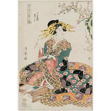 二代目鳥居清満: Karauta of the Chôjiya, from the series Songs of the Four Seasons in the Pleasure Quarters (Seirô shiki no uta) - ボストン美術館