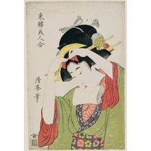 二代目鳥居清満: Woman Adjusting Her Hairstyle, from the series Comparison of Beauties in Eastern Brocade (Azuma nishiki bijin awase) - ボストン美術館