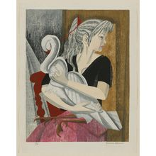 Sekino Jun'ichiro: A Girl and Her Swan (Artist's daughter, Ayuko) - Museum of Fine Arts