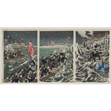 Utagawa Kokunimasa: Illustration of the Fierce Battle for the Occupation of Weihaiwei (Ikaiei senryô dai gekisen no zu) - ボストン美術館