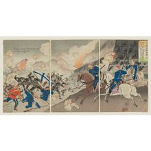 渡辺延一: Illustrated News of the Russo-Japanese Battles No. 3: The Great Victory of the Japanese Army in the Seoul Engagement (Nichiro kôsen gahô--sono san) - ボストン美術館