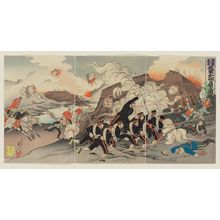 Watanabe Nobukazu: Russo Japanese War: Picture of Our Troops' Occupation of Chongju [Jap. Teishu/Ch. Dingzhou] - Museum of Fine Arts