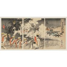 Nakamura Shûkô: Picture of the Genzan Soldiers Marching on Pyongyang and the Fierce Battle Between the Japanese and Chinese Troops (Genzan kôshin Nisshin ryôgun Heijô dai-gekisen no zu) - Museum of Fine Arts