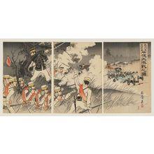 Nakamura Shûkô: Picture of the Genzan Soldiers Marching on Pyongyang and the Fierce Battle Between the Japanese and Chinese Troops (Genzan kôshin Nisshin ryôgun Heijô dai-gekisen no zu) - ボストン美術館