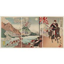 Utagawa Kokunimasa: Illustration of Our Army Defeating Enemies at Songhwan (Seikan) and Taking the Base Away from Asan (Gazan) - ボストン美術館
