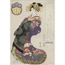 Kitagawa Shikimaro: Hitomoto of the Daimonji(ya), kamuro Senkaku and Banki, from the series Female Poetic Immortals in the Modern Style, a Set of Thirty-six (Imayô onna kasen, sanjûrokuban tsuzuki) - ボストン美術館