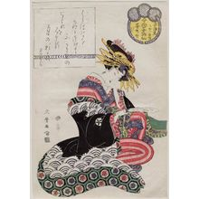 Kitagawa Shikimaro: Sugatano of the Sugata-Ebiya, kamuro , from the series Female Poetic Immortals in the Modern Style, a Set of Thirty-six (Imayô onna kasen, sanjûrokuban tsuzuki) - ボストン美術館