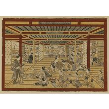Okumura Masanobu: Large Perspective Picture of a Second-story Parlor in the New Yoshiwara, Looking toward the Embankment (Shin yoshiwara nikai zashiki dote o mitôshi ô-uki-e) - Museum of Fine Arts