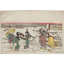 勝川春好: Harbor Scene in Snow - ボストン美術館