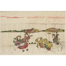Katsukawa Shunko: Walking on the Riverbank in Rain - Museum of Fine Arts