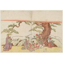 勝川春好: Courtesans on Veranda (or Stage?) by a Pine Tree - ボストン美術館