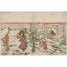 Katsukawa Shunko: Women Visiting a Young Man in the Snow (Parody of Three Kingdoms?) - Museum of Fine Arts