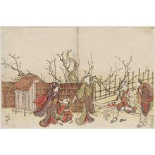 Katsukawa Shunko: Visiting the Plum Garden - Museum of Fine Arts