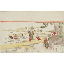 Katsukawa Shunko: A Rural Scene: Transplanting Rice Seedlings and Gathering Firewood - Museum of Fine Arts