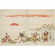 勝川春好: Brine Carriers (Shiokumi) - ボストン美術館
