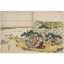 勝川春好: Passengers on a Boat Excursion - ボストン美術館