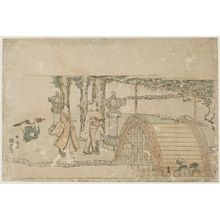 Katsukawa Shunko: Arched Bridge at Kameido - Museum of Fine Arts