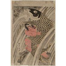 勝川春亭: Oniwakamaru and Carp in Waterfall - ボストン美術館