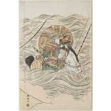 Katsukawa Shuntei: Mounted warrior in water - Museum of Fine Arts
