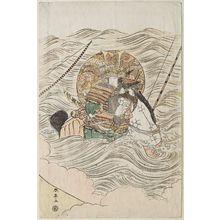 勝川春亭: Mounted warrior in water - ボストン美術館