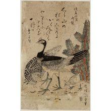 Katsukawa Shunsei: Cock, hen, and chick - Museum of Fine Arts