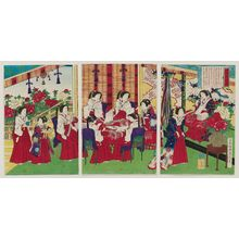 Utagawa Fusatane: The Whole Nation Living in Perfect Contentment: Empress and Ladies in Waiting Making Cotton Strings (Banmin kofuku) - Museum of Fine Arts
