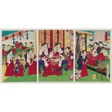 歌川房種: The Whole Nation Living in Perfect Contentment: Empress and Ladies in Waiting Making Cotton Strings (Banmin kofuku) - ボストン美術館