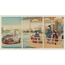 渡辺延一: Beauties Enjoying Cherry Blossoms on the Banks of the Sumida River (Bijin Sumidagawa hanami no zu) - ボストン美術館
