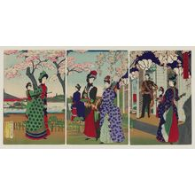 Toyohara Chikanobu: Illustration of Flowering Cherry Blossoms at Ueno Park (Ueno kôen kaika no zu) - Museum of Fine Arts