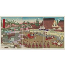 Kobayashi Ikuhide: Famous Places in Tokyo: Imperial Departure from the Palace (Tôkyô meisho kôkyo goshutsumon no zu) - Museum of Fine Arts