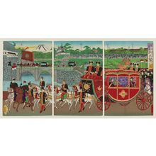 Utagawa Kokunimasa: Nijûbashi Bridge at the Imperial Palace: The Imperial Departure (Kôkyo Nijûbashi goshutsuren no zu) - ボストン美術館