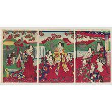 Utagawa Fusatane: Empress and Court Ladies Enjoying the Autumn Foliage (Momiji goyûran no zu) - Museum of Fine Arts