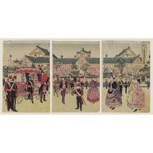 渡辺延一: Illustration of Emperor's Triumphal Return to Reconstructed Diet Building at Hibiya (Daigensui-heika gaisen kôkyo go-nyûjô no zu) - ボストン美術館