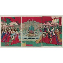 Kobayashi Toshimitsu: Illustration of Empress and her Ladies-In-Waiting Looking at Shojo Fountain at the Exhibition Grounds of Ueno Park - ボストン美術館