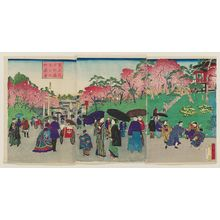 三代目歌川広重: A Noted Place of Tokyo: View of Ueno Park with Cherry Blossoms in Full Bloom (Tôkyô meisho Ueno kôen hanazakari no zu) - ボストン美術館