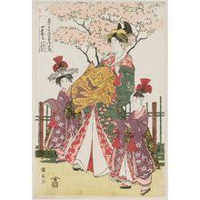 Utagawa Kuninaga: Hitomoto of the Daimonjiya in Kyô-machi itchôme, kamuro Senkaku and Banki - Museum of Fine Arts