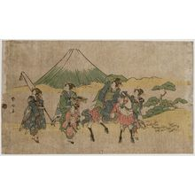 Katsukawa Shunko: Parody of Narihira's Journey to the East: Passing Mount Fuji - Museum of Fine Arts