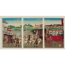 Toyohara Chikanobu: Promulgation of the Constitution: The Emperor Leaving the Palace (Kenpô happu, kôkyo goshutsumon no zu) - Museum of Fine Arts