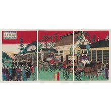 Utagawa Hiroshige III: Famous Places in Tokyo: Illustration of the Emperor and Empress Leaving the Temporary Imperial Palace at Akasaka (Tôkyô meisho no uchi: Akasaka...kôkyo goshutsumon no zu) - Museum of Fine Arts