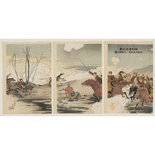小原古邨: Bombarding Ritokuji (Telissu): Picture of our Cavalry Soldiers Bravely Attacking Ryuobyo (Ritokuji dai hôgeki wagakihei Ryûôbyô ni daiyûsen no zu) - ボストン美術館