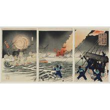 Nitei: Scene of the Great Victory at the First Japanese-Russian Naval Battle at the Harbor of Inchon (Jinsen nichiro daiichi kaisen no kôkei daishôri) - Museum of Fine Arts