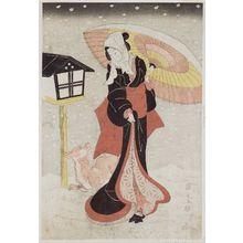 Utagawa Kunimaru: Woman with umbrella and dog in snow - ボストン美術館