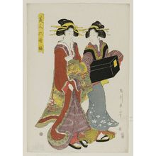 Kikugawa Eizan: Two Women with a Shamisen Case, from the series Beautiful Women as the Six Poetic Immortals (Bijin Rokkasen) - Museum of Fine Arts