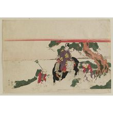 Kikugawa Eizan: Sugawara Michizane (Kan Shôjô) Riding an Ox and Children Gathering Pine Needles - Museum of Fine Arts