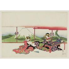 菊川英山: Courtesans in a Room with Door-Panel Painting of Mount Fuji - ボストン美術館