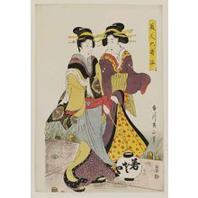 Kikugawa Eizan: Two Women on a Pier at Night, from the series Beautiful Women as the Six Poetic Immortals (Bijin Rokkasen) - Museum of Fine Arts